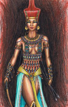 Here is the ancient Egyptian Goddess Neith, goddess of war and hunting, and many other things I drew her before and thought I would try her again, hope . The Goddess Neith Egyptian Women, Egyptian Art, Egyptian Symbols, Egyptian Things, Egyptian Makeup, Egyptian Beauty, Egyptian Mythology, Egyptian Goddess, African Goddess