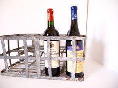 French wine bottle carrier holder, Metal basket,Milk Bottle career zinc,  metal carrier, french country kitchen