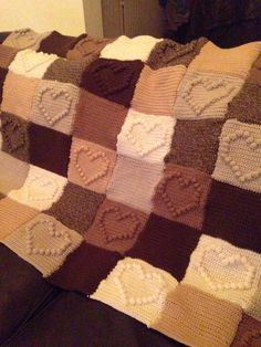 Bobble heart crochet blanket ... Pretty Neutral colours
