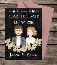 Chalkboard  Custom wedding  Save the date  by SaveTheForest