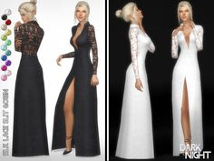 Silk Lace Slit Gown Found in TSR Category 'Sims 4 Female Formal'