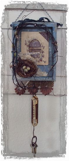 Hear My prayer, oh God    I created this assemblage from a wooden box hand created by my husband. It has been lined and layered using vintage