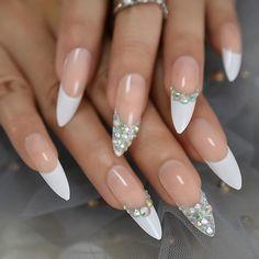 Pink Gel Nails, Uv Nails, Dope Nails, Glue On Nails, Jewel Nails, Fall Acrylic Nails, Acrylic Nail Designs, Pointy Acrylic Nails, Clear Nail Designs
