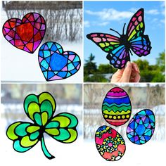 glass Make stained glass Easter egg suncatchers with kids! This craft comes with four free printable Easter egg designs and makes for a quick and easy way to decorate windows for Easter. All you need is some recyclable plastic, glue and sharpies. Stained Glass Paint, Making Stained Glass, Stained Glass Christmas, Stained Glass Suncatchers, Spring Crafts, Holiday Crafts, Fun Crafts, Arts And Crafts, Paper Crafts
