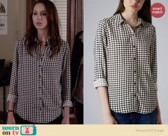 Spencer's black and white gingham check shirt on Pretty Little Liars.  Outfit Details: http://wornontv.net/35573/ #PLL