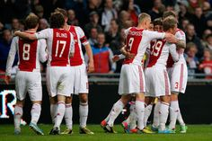 Viktor Fischer Photos Photos - Viktor Fischer (#39) of Ajax is congratulated by team mates after he heads and scores the first goal of the game during the  Eredivisie match between Ajax Amsterdam and SC Heerenveen at Amsterdam Arena on April 19, 2013 in Amsterdam, Netherlands. - Ajax Amsterdam v SC Heerenveen - Eredivisie