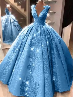 Ball Gown V Neck Floor Length Prom Dresses with Appliques, Quinceanera Dress - Ball Gown V Neck Prom Dresses with Appliques, Long Quinceanera Dresses – Mmocu Source by - Pretty Quinceanera Dresses, Pretty Prom Dresses, Plus Size Prom Dresses, Beautiful Dresses, Quincenera Dresses Blue, Dress Prom, Sweet 16 Dresses Blue, Blue Grad Dresses, Quinceanera Planning