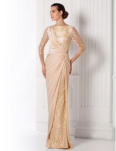 Sheath/Column Bateau Floor-length Jersey And Lace Evening Dress (835183) – USD $ 119.99