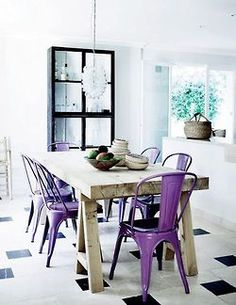Interior design ideas, I love the purple chairs and white backgrounds- fresh!