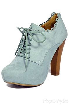 Qupid Puffin Lace Up Platform Bootie