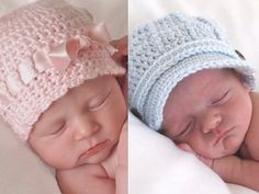 Baby Crochet Hats  Twin newborn hat set includes pink newborn girl hat with laced satin ribbon bow and newborn boy pale blue newsboy cap as shown.