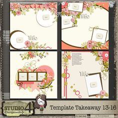 Feeling a little stuck coming up with your own layout design? Here is a versatile 4-pack set of templates packed with super fun layering elements, frames and papers! These templates are perfect for preserving all those special photos and are sure to get your creative juices flowing using one of your favourite kits. You've got it all here on one page! There are 4 layered templates in this group, in PSD, PNGs and TIFF format.