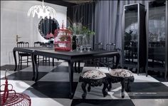 Looking for high end luxury dining room design ideas? Access pictures of luxurious dining rooms from top designers to get inspired today. Modern Dining Room, Black And White Dining Room, Room Design, Dining Room Contemporary, White Dining Room, Dining Room Rug, Dining Table In Kitchen, Luxury Dining Room, Dining Room Small