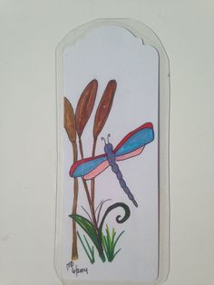 Dragonfly bookmark hand drawn botanical whimsical by FancyTweets