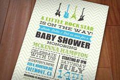 LITTLE ROCK STAR Baby Shower Printable Invitation. $15.00, via Etsy.