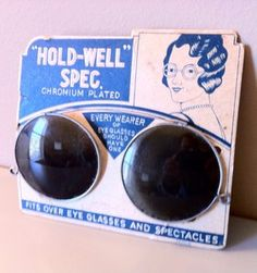 """Vintage Sunglass Clips """"Hold-Well"""" Spec Chromium Plated Optical History Japan"""