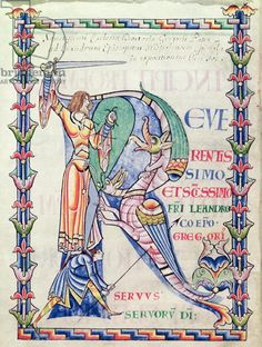 illuminated initial capital letter R in a medieval century manuscript of a letter of Gregory's to Saint Leander, bishop of Seville in Spain Book Of Kells, Medieval Manuscript, Medieval Art, Medieval Drawings, Illuminated Letters, Illuminated Manuscript, Sta Rita, Saint Gregory, Book Of Job