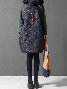 Casual Patchwork Pure Color Padded Turtleneck Long Sleeve Women Dresses