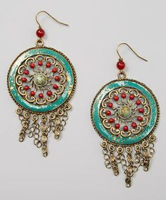 Another great find on #zulily! Turquoise & Gold Bead Fringe Earrings #zulilyfinds
