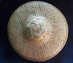 Rice Paddy Asian Hat Vintage EXCELLENT! Costume vietnamese straw Coolie Chinese