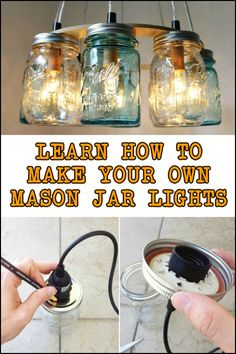DIY Mason Jar Lights – Craft projects for every fan! Mason Jar Projects, Mason Jar Crafts, Mason Jar Diy, Mason Jar Lamp, Mason Jar Chandelier, Diy Hanging Shelves, Floating Shelves Diy, Diy Wall Shelves, Diy Mason Jar Lights