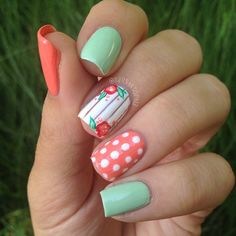 For my toes. coral and mint green nails. Accent nails with white polka-dots or flowers.