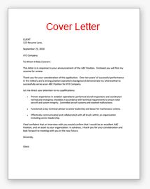 sample of a cover letter for employment