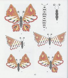 perles - Page 3 Beading Tutorials, Free Tutorials, Angel Wing Earrings, Beads And Wire, Seed Beads, Creations, Wings, Bracelets, Cards