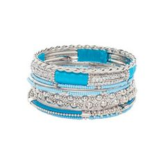 Cool Mix/Silver Crystal & Bead Bangle Set by Robert Rose