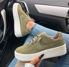 new products cee45 25ce3 Nike Air Force 1 Sage Nike Air Force 1 Sage Low COLOR  Olive FIT  True to  size US Womens Sizes please see size chart Select from two options  Outside  Logos ...