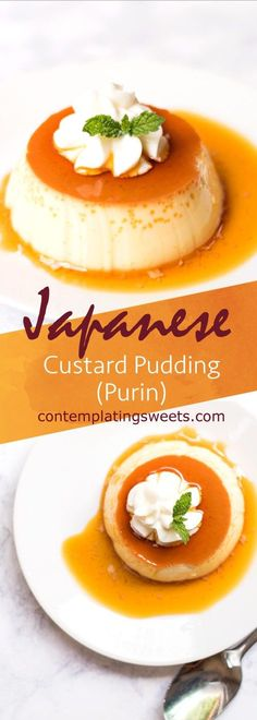 This baked Japanese custard pudding, known as purin in Japan, is creamy, delicious, and easy to make! An extremely popular Japanese dessert! Asian Desserts, Easy Desserts, Delicious Desserts, Dessert Recipes, Yummy Food, Baking Desserts, Cake Recipes, Gourmet Desserts, Healthy Food