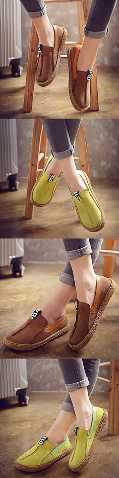 Suede Pure Color Slip On Stitching Flat Soft Shoes For Women.Shop Today!