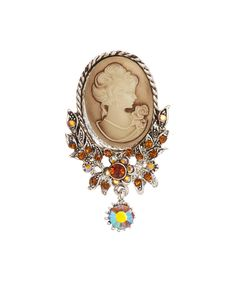 Loving this Ten79LA Amber Czech Crystal & Antique Silvertone Cameo Brooch on #zulily! #zulilyfinds
