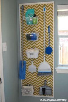 "Organize brooms and mops in the laundry room with a peg board. Love the painted chevron painted over the pegboard along with the ""frame"". Way to class up boring pegboard! Organisation Hacks, Laundry Room Organization, Organizing Tips, Organize Cleaning Supplies, Organising, Storage Organization, Organize Room, Laundry Sorter, Laundry Storage"