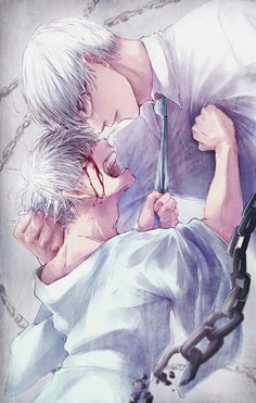 Kaneki and Arima ~ oh my little baby was clawing his own eyes out because of that monster Arima