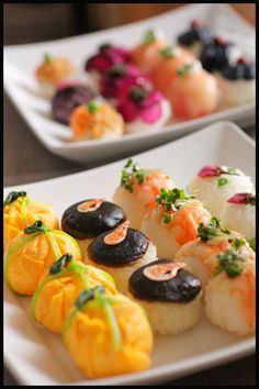 Sushi Recipes, Asian Recipes, Temari Sushi, Sushi Love, Party Finger Foods, Recipes From Heaven, Sashimi, Cute Food, Korean Food