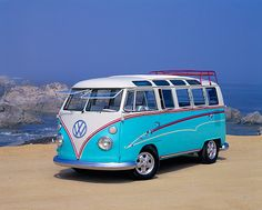 Vintage VW bus. Pretty baby blue and white