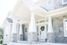Ideas for house exterior design craftsman columns Craftsman Columns, Brick Columns, Craftsman Style, House Columns, Craftsman Homes, Craftsman Exterior, Cottage Exterior, Craftsman Farmhouse, Porch Columns