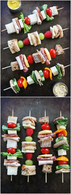Sandwich on a Stick on twopeasandtheirpo… 4 fun sandwich ideas that are perfect for school lunches! Sandwich on a Stick on twopeasandtheirpo… 4 fun sandwich ideas that are perfect for school lunches! Healthy School Snacks, Lunch Snacks, School Lunches, Bag Lunches, Work Lunches, School School, Kid Snacks, Menu Cocktail, Mini Sandwiches