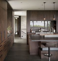 Photo 13 of 23 in A Southern California Midcentury Gets a Serene, Japanese-Inspired Treatment - Dwell New Kitchen Cabinets, Kitchen Countertops, Dark Granite Countertops, Light Granite, Kitchen Shelves, Home Decor Kitchen, Home Kitchens, Kitchen Ideas, Kitchen Photos