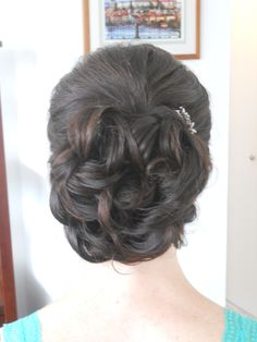 Wedding hair - Bride or bridesmaid sophisticated full soft curly updo styled by Carrie at Appease Inc. Need a stylist for your wedding? We travel anywhere!