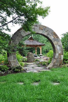 asian landscape by McHale Landscape Design, Inc - Moon Gate reminds of stargate. Asian Garden, Chinese Garden, Amazing Gardens, Beautiful Gardens, Garden Gates And Fencing, Fence Gates, Arch Gate, Asian Landscape, Desert Landscape