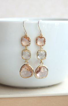 Peach Champagne Earrings. Clear Glass Gold