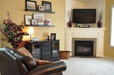 For Dawn - Living Room Decorating Ideas on a Budget - Corner fireplace Fireplace Ideas/ Mantel Decor.I want this fireplace in my living room! Home Living Room, Home, Starter Home, Livingroom Layout, Fireplaces Layout, Corner Fireplace Makeover, Fireplace Decor, Corner Fireplace Furniture Arrangement, Room Layout