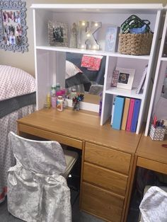 Ole Miss Martin Dorm room - desk hutches. Perfect for organization!!!