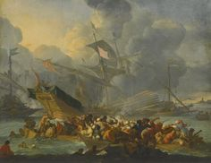 Johannes Lingelbach FRANKFURT AM MAIN 1622 - 1674 AMSTERDAM BATTLE OF LEPANTO, 1571, WITH A CROWDED ROWING BOAT AND MEN STRUGGLING TO SHORE IN THE FOREGROUND signed lower left: J LINGELBACH oil on canvas 63 by 80.5 cm.; 24 3/4  by 31 3/4  in.