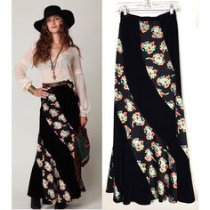 """Free People Black Velvet & Floral Maxi Skirt As seen on the Free People website. Gorgeous black velvet maxi skirt with twisted orange, blue, green and yellow floral print pattern throughout. High-waisted. Zipper and button closure on left side. Size 0/XS/26"""" waist. NWOT. Free People Skirts Maxi"""
