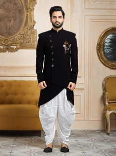 Shop Black color terry rayon indowestern online from India. Mens Indian Wear, Mens Ethnic Wear, Indian Groom Wear, Indian Men Fashion, Mens Fashion Suits, Mens Suits, India Fashion Men, Wedding Dresses Men Indian, Wedding Dress Men