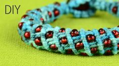 Wavy Spiral Bracelet with Beads - Tutorial. Make Beaded Wavy Spiral Bracelet (DIY Tutorial). In this style you can make a necklace, just make it longer. See more beaded bracelets in playlist: . Macrame Necklace, Macrame Jewelry, Macrame Bracelets, Bracelet Tutorial, Beads Tutorial, Diy Tutorial, Micro Macramé, Macrame Patterns, Jewelry Patterns