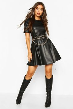 Faux Leather Short Sleeve Skater Dress | boohoo Leather Mini Dress, Leather Dresses, Leather Shorts, Bodycon Fashion, Fashion Face Mask, Latest Dress, Pop Fashion, Dress Collection, Dress To Impress